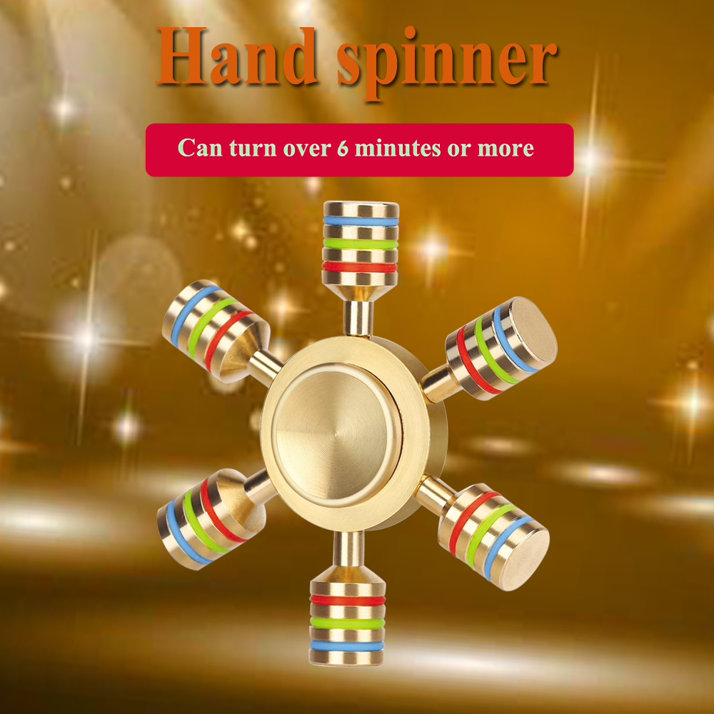 6 Sided Metallic Fidget Spinner Customizable, Glow in the Dark Anxiety, Stress Relief Gold       Luxury Quality Premium R188 Bearing Help Focus and Reduce Stress Spins 4 Minutes+With Smaller Friction and Longer…