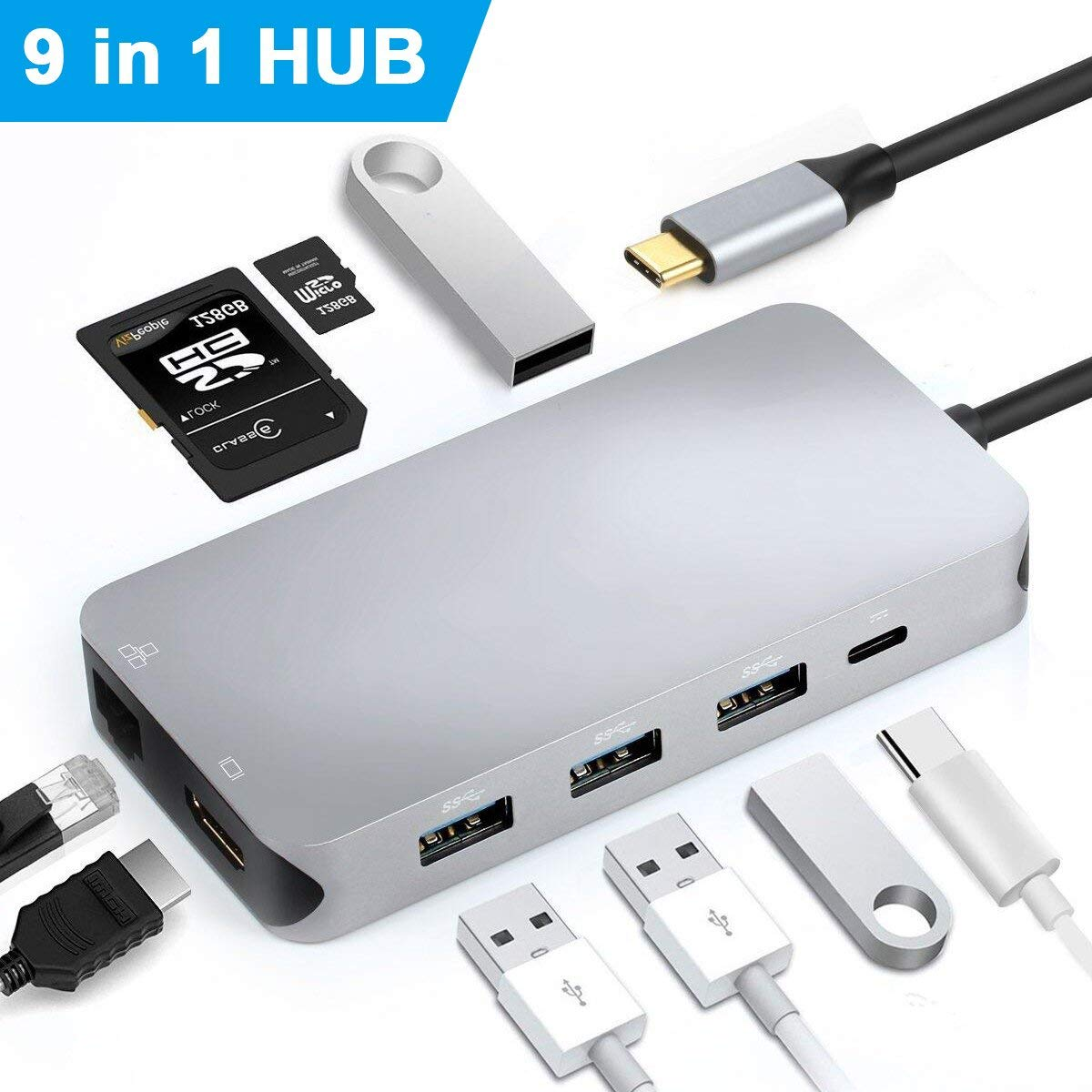 ✔ Instant Expansion:9-in-1USB C Hub with 4K HDMI Port & RJ45 Gigabit Ethernet LAN Network Hub, with 4USB3.0 Ports, SD/TF Card Reader and USB C Charging Port, Type C to…